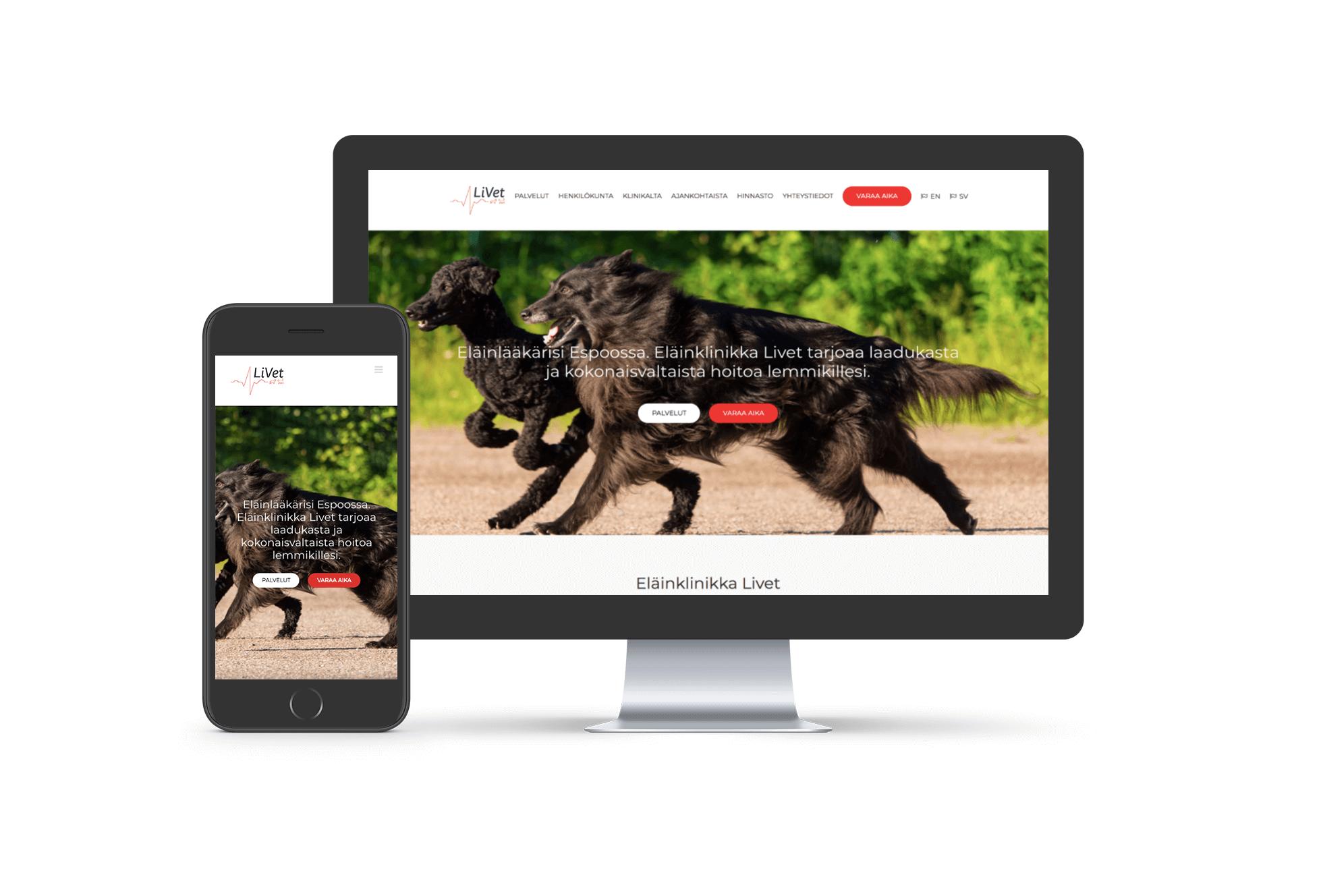 Eläinklinikka Livet -verkkosivut