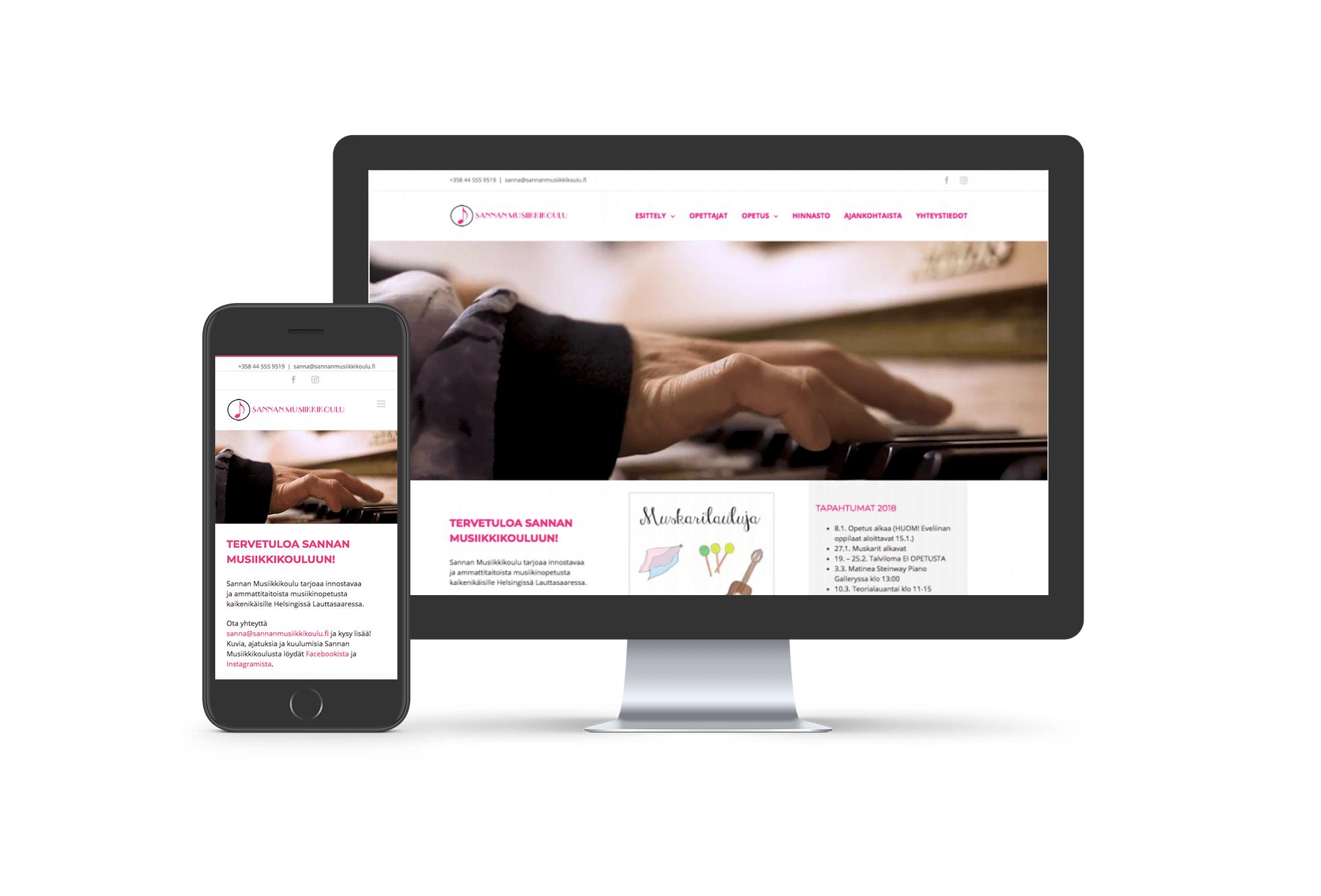 Sannan musiikkikoulu - Wordpress-verkkosivut