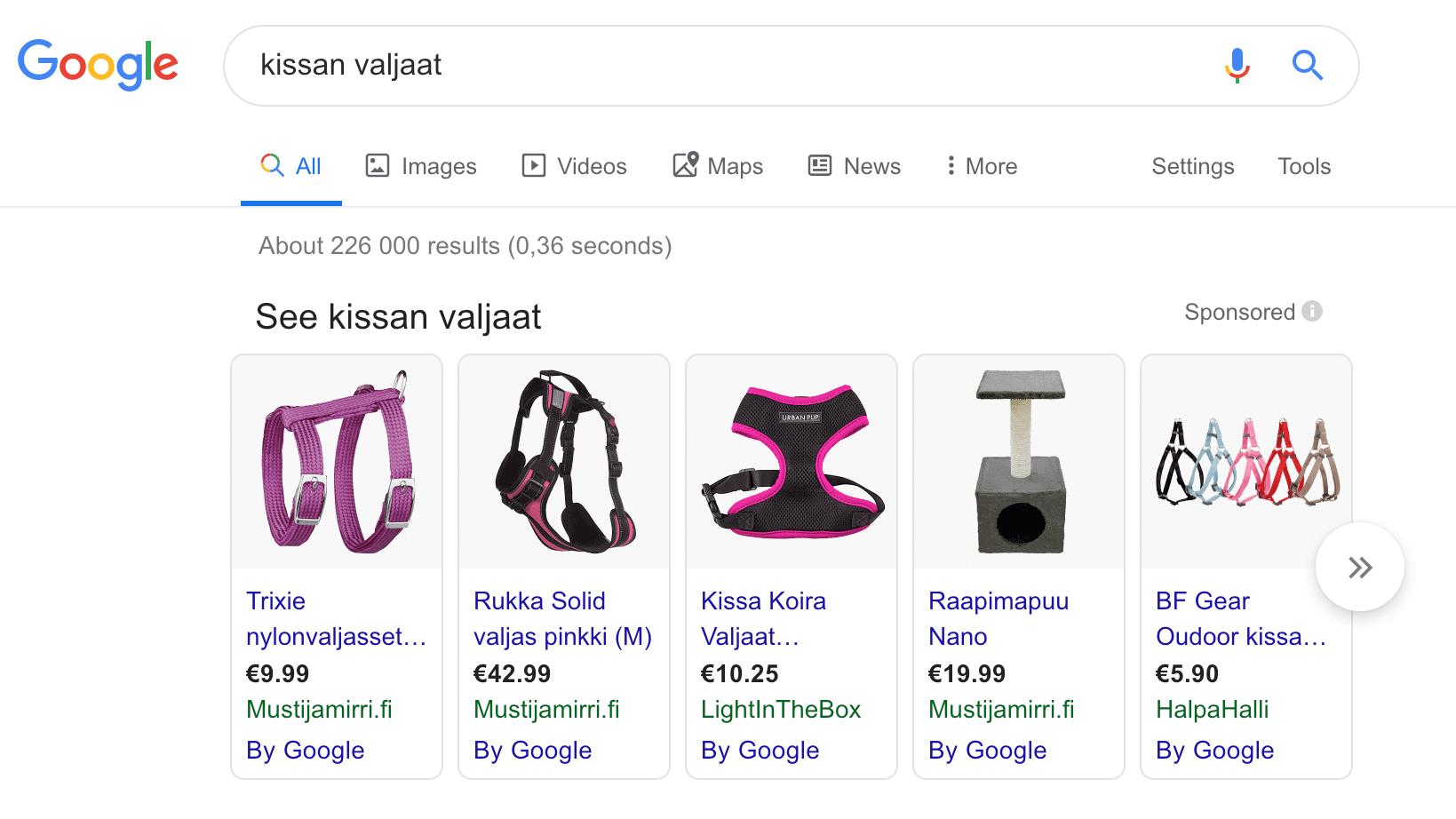 Google Shopping -mainoksia