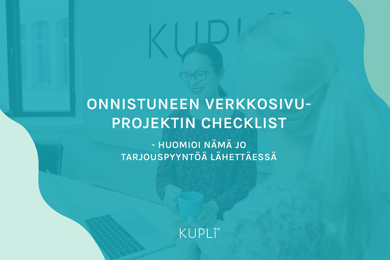 Onnistuneen verkkosivuprojektin checklist